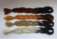 Wholesale Two Tone Ombre Synthetic Braiding Hair Bulks G High Temperature Fiber Jumbo Hair Braids Long Straight Folded Hair Bundle Extensions
