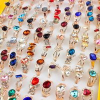 Wholesale Wedding Jewelry Ring Mix Styles Crystal Rhinestone CZ Charm Lady s Rings Fashion Gold Plated Women Rings