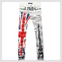 overalls for men - men s fashion print jeans English flag Eiffel tower colored drawing straight rock jeans pants denim overalls for men