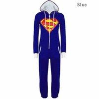 adult character pajamas - New Unisex Pyjamas Superhero Adult Onesies Mens Women Batman Superman Onesie One Piece Pajamas Sleepwear