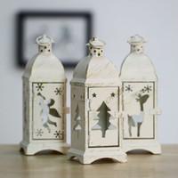 Wholesale white metal lantern Christmas decoration angel tree deer designs optional hurricane lamp Nordic candle holder
