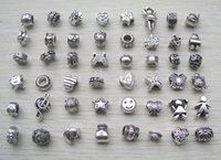 european beads free shipping - mix style antique silver pated Big Hole Loose alloy Beads fit European Pandora Jewelry Braclet Charms DIY