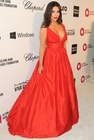 Cheap Cheap Kim Kardashian 2014 86th Academy Awards Empire Plunging V-Neck Long Red Carpet Dresses Celebrity Dresses Ruched Evening Gowns
