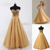 cheap prom dresses - 2015 Hot Sweetheart Neckline Prom Dresses Gold Sequins Tulle A Line Corset Cheap Formal Party Evening Gowns Long In Stock SD033