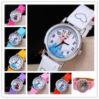 baby dates - Children Cartoon Frozen PU Leather Watch Analog Quartz Sports Wristwatches Relojes Princess Anna Elase Watches for Kids Baby Girls Gifts DHL