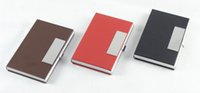 Wholesale 10PCS PU Leather Stainless Steel Card Holder Name Card Credit ID Card Pocket Case Box Keeper Holder