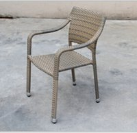 aluminum restaurant chair - Promotion Obama outdoor PE rattan dinning aluminum arm Chair for restaurant Has been very popular