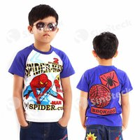 Wholesale Cartoon Spiderman T shirt Spider man Summer Pullover Cotton Short Sleeve For yr for Boys Kids Children Factory Direct Free DHL