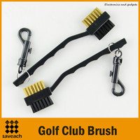 Wholesale High Quality Portable Side Way Dual Bristles Golf Club Brush Cleaner Ball Cleaning Clip Groove Lightweight