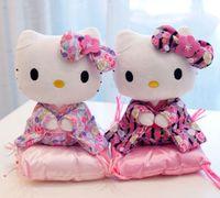 Wholesale Super Hot new cartoon cat doll models kneeling stance Japanese kimono plush toy doll