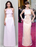 anne hathaway picture - Anne Hathaway Red Carpet Celebrity Dress Column Satin Halter Cheap Criss Cross Straps Back Prom Gown Split Formal Dress