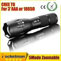 Wholesale Custom logo UltraFire CREE XM L T6 Torch modes High Power CREE LED Torches Zoomable CREE LED Flashlights torch light free DHL