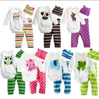 retail clothing - retail New cotton children child baby boys girls clothes three piece Long sleeved Romper hat pants clothing sets