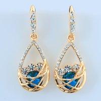 Wholesale 2014 New fashion brand wedding jewelry piercing waterdrop big stone stud earrings vintage statement earing Christmas gift