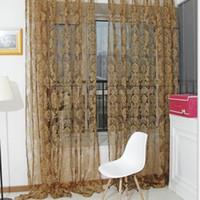 Wholesale Unique Bronzing Voile Door Window Curtain Balcony Valances Sheer Scarfs Hot