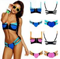 Wholesale 9 Colors S M L Lady Sexy Women Zipper Bathing Bandage Bikini Set Swimsuit Swimwear Zipper Swimwear