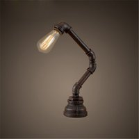 bar style dining room tables - Retro American Style Rural Industry Water Pipe Warrior Table Lamp Dining Room Cafes Bar Robot Table Light Creative Study Room Desk Lamp