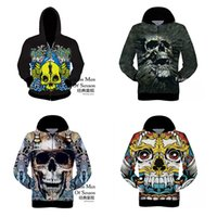 Wholesale Autumn and winter men s sweater fashion trend personality D printing skull sweater coat S XXL Loose coat Bomber Jackets men Sweatshirt