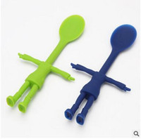 Wholesale Silicone Feeding Spoons New Baby Creative Tableware Soft Baby Spoons Funny Smile People Silicone Spoons for Baby Cooking Spoon