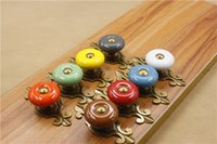 base cabinet sizes - Small size Bronze base Red Green Gray White Orange Blue Brown Yellow round ceramic single door knob cabinet handle drawer pull