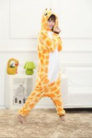 Wholesale Cartoon Animal Giraffe Unisex Adult Flannel Onesies Onesie Pajamas Kigurumi Jumpsuit Hoodies Sleepwear For Adults Welcome Order
