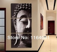Cheap 3 Panel Wall Art Religion Buddha Oil Painting On Canvas No Framed Room Panels For Home Modern Decoration art picture( no Framed)