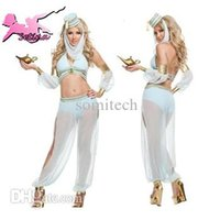 arab dancer - fantasia halloween Exotic Sexy Light Bule Low Bosom Nautch Mother belly dancer disfraces The Arab Woman cosplay costume HJL006