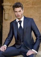 Wholesale The grooms suits tuxedos three piece high qulity mens wedding suits handsome the groom suits tuxedos jacket pants vest tie