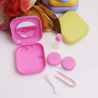 Wholesale Free DHL High quality Cute Pocket Mini Contact Lenses Case Travel Kit Easy Carry Mirror Container Holder Contact Lens