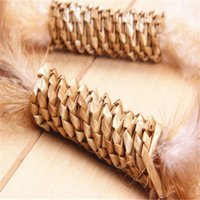 Wholesale Feather and wheat straw rod cat playing toy green and environmental cats toy pets product supply and retail