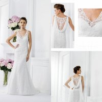 Wholesale 2014 Wedding Dresses Sexy V Neck Sleeveless Zipper Floor Length White Lace Bridal Gowns