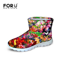 australia footwear - Novelty Graffiti Women s Winter Boots For Female Ladies Footwear Botas Mou Warm Teenager Girls Australia Boots Flat Snowshoes
