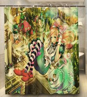 alice curtain - Alice in Wonderland Listen Music Girl Print x180cm Waterproof Custom Shower Curtain High Quality Polyester Bath Curtain