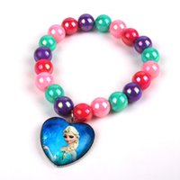 ana bracelets - House kids stores offer new cute candy colored beads bracelet pendant frozen Ana Elsa s best selling children