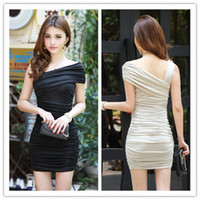 Cheap Cocktail Dresses Summer Dresses Newest Fashion Sexy Ladies Skirts Hot Two Shoulders Tight Fitting Satin Knee Length Draped Short Plated