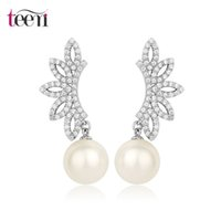 Wholesale Teemi Price New Design Women Luxury White Gold Wedding Evening Party Dress Jewelry Angle Wing White Pearl Earrings