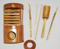 bamboo tongs - Dao tea service set Mao Bamboo KungFu tea accessories with needle Saucer strainer tong tea spoon