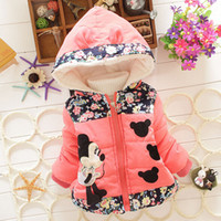 Wholesale 2016 Hot Selling Little Girls Outwear Baby Girls Dresses Kids Thick Clothes Girls Jackets Children Cute Cartoon Mickey Coats Clothing Tops