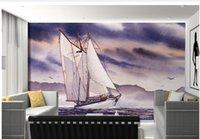 Wholesale Customize wallpaper papel de parede Vintage sailboat sails offshore oil painting TV backdrop d wallpaper 4452