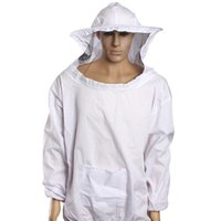 beekeeping suit - 1 Pair Beekeeping Long Sleeve Gloves Protective Bee Keeping Jacket Veil Suit Outdoor Safely Security Protector White Cotton