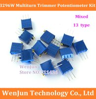 Wholesale 50set W Multiturn Trimmer Potentiometer Kit High Precision Variable Resistor Mixed type order lt no track