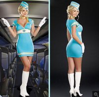 air hostess costume - Women sky blue Corduroy sexy airline stewardess Role cosplay costumes for halloween cosplay uniform temptation Air Hostess dress