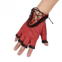 Wholesale Cool Gothic Punk Women s PU Leather Lace Trim Straps Fingerless Gloves Black Red