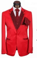best central - Bride s central ventilation incision lapel is best the most suitable person for red groom wedding suit jacket pants vest