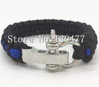 Wholesale Police Thin Blue Line Series Survival Paracord Bracelet Strand Patriot Paracord Bracelet with D Adjustable Shackle