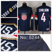 Cheap stitched 2014 Olympic Team USA 4 John Carlson Jersey Sochi Winter olympic Ice Hockey Jersey Blue white