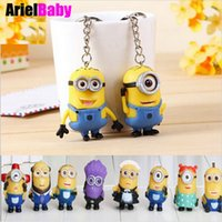 Wholesale New Minion Toys Despicable Me Action Anime Figure Key Chains Key Ring Brinquedos Kids Toys Free Tracking