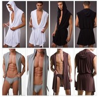Wholesale Designer Sexy Men Sleeveless Hooded Silk Robe Gown Male Bathrobe Cheap Men s Polyester Robes with Hood Black White Gray Coffee