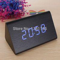 Wholesale Black Wood Triangular Blue LED Alarm Digital Desk Clock Wooden Thermometer