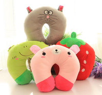 Wholesale good quality Cute Soft Cartoon U Shaped Pillow Pink Pig Strawberry Frog Black Cat Tiger Bruins Pink Rabbit Panda More style